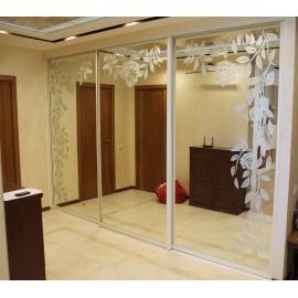 Двери шкаф купе с зеркалом и рисунком