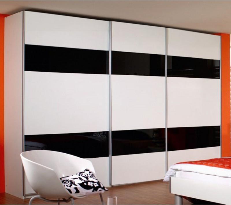 Черно белые шкафы купе в спальню
