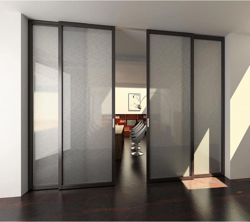Раздвижная стеклянная перегородка для комнаты