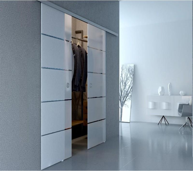 Стеклянные двойные раздвижные двери