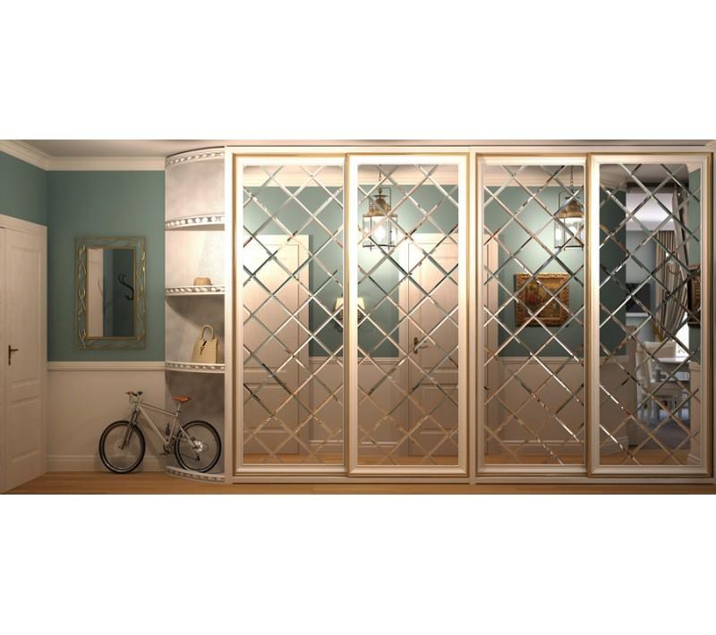 Шкаф купе с ромбами из зеркала
