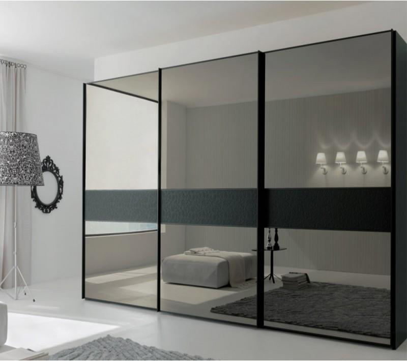 Шкаф купе серый с зеркалом
