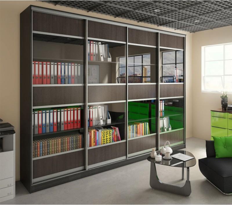 Книжный шкаф купе со стеклом